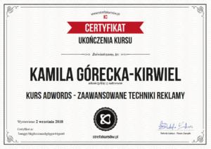 Kamila Górecka-Kirwiel Specjalista Google Adwords