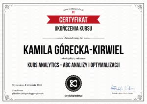 Kamila Górecka-Kirwiel Specjalista Google Analytics