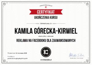 Kamila Górecka-Kirwiel Specjalilsta Facebook Ads