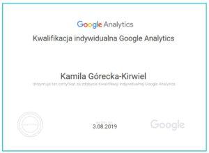 Kamila Górecka-Kirwiel certyfikat Google Analytics