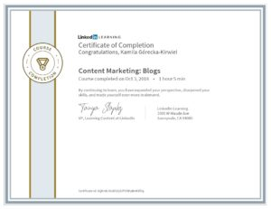 Kamila Górecka-Kirwiel Content Marketing - blogi